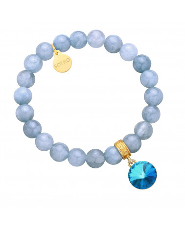 Brudnoniebieska bransoletka z anhydrytu zdobiona kryształem SWAROVSKI® CRYSTAL