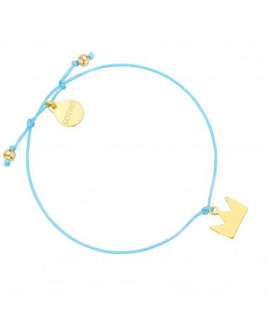 Turkusowa sznurkowa bransoletka ze złotą koroną