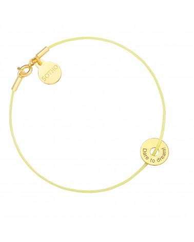 Żółta pastelowa sznurkowa bransoletka z karmą Dare to dream!