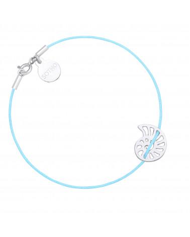 Niebieska sznurkowa bransoletka ze srebrną muszelką