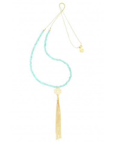 Długi miętowy naszyjnik z rozetką i złotym łańcuszkowym chwostem