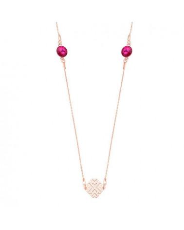 Długi naszyjnik z arabskimi rozetami i ciemno różowymi kryształami SWAROVSKI® CRYSTAL