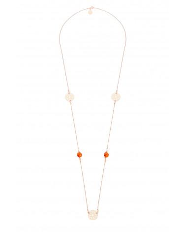Długi naszyjnik z arabskimi rozetami i pomarańczowymi kryształami SWAROVSKI® CRYSTAL