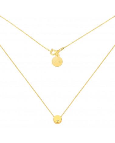 Złoty naszyjnik z delikatną karmą z kryształkiem SWAROVSKI® CRYSTAL