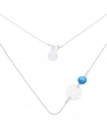 Srebrny naszyjnik z orientalną rozetką i niebieskim kryształem SWAROVSKI® CRYSTAL