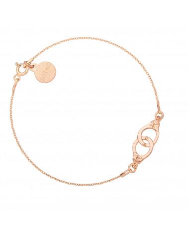 Bransoletka z kajdankami z różowego złota
