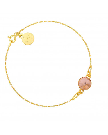 Złota bransoletka z łososiowym pastelowym kryształem SWAROVSKI® CRYSTAL