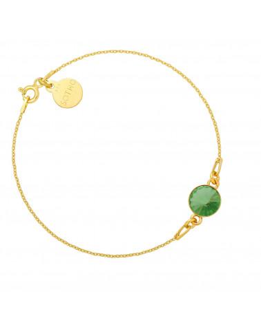 Złota bransoletka z jasnozielonym kryształem SWAROVSKI® CRYSTAL