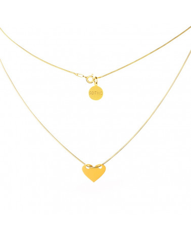 Złoty modowy naszyjnik serce serduszko łańcuszek żmijka