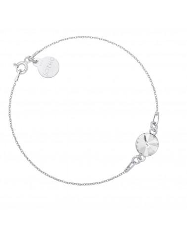 Srebrna bransoletka z bezbarwnym kryształem SWAROVSKI® CRYSTAL