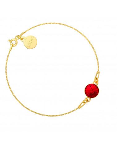 Złota bransoletka z czerwonym kryształem SWAROVSKI® CRYSTAL