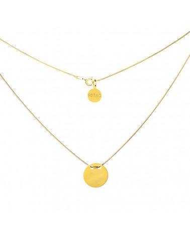 Złoty naszyjnik symbol koła karma pełne koło łańcuszek żmijka