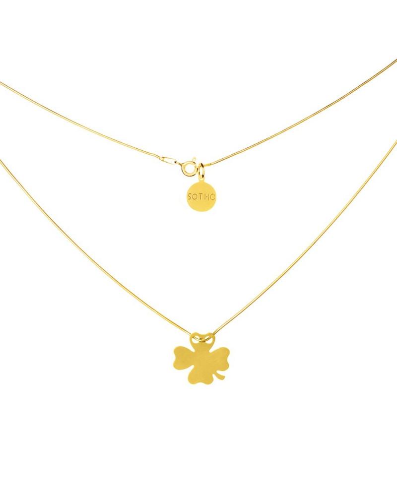 Złoty naszyjnik symbol czterolistna koniczynka koniczyna łańcuszek żmijka