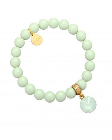 Jasnozielona pastelowa bransoletka perły SWAROVSKI® CRYSTAL z kryształem