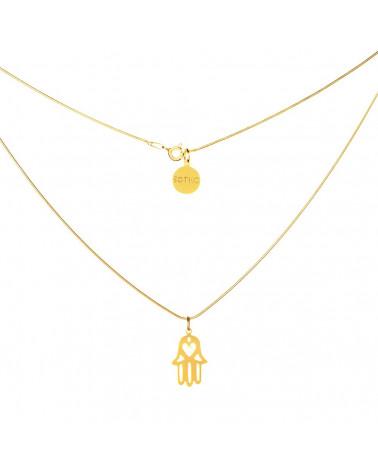 Złoty modowy naszyjnik symbol ręka Fatimy łańcuszek żmijka