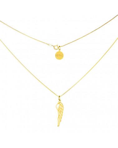 Złoty modowy naszyjnik symbol skrzydło łańcuszek żmijka
