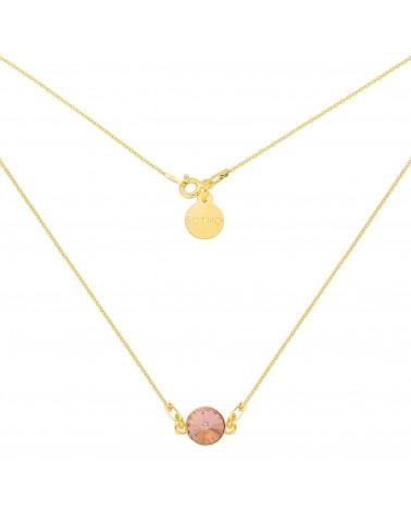 Złoty naszyjnik z łososiowym pastelowym kryształem SWAROVSKI® CRYSTAL