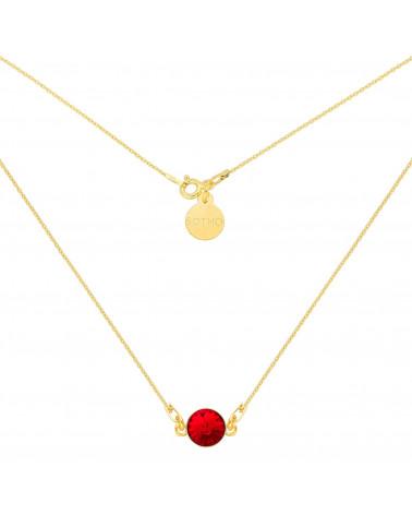 Złoty naszyjnik z czerwonym kryształem SWAROVSKI® CRYSTAL