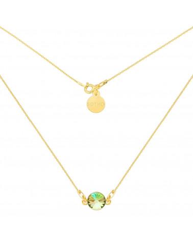 Złoty naszyjnik z opalizującym kryształem SWAROVSKI® CRYSTAL