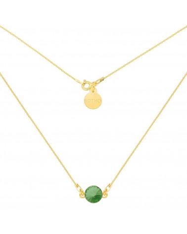 Złoty naszyjnik z jasnozielonym kryształem SWAROVSKI® CRYSTAL