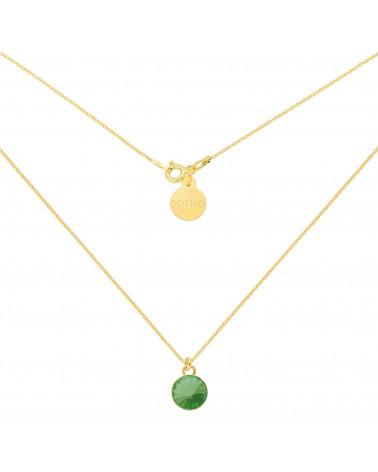 Złoty naszyjnik z jasnozielonym kryształkiem SWAROVSKI® CRYSTAL
