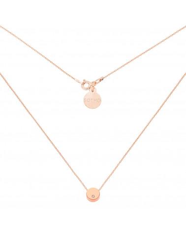 Naszyjnik z różowego złota delikatną karmą z kryształkiem SWAROVSKI® CRYSTAL