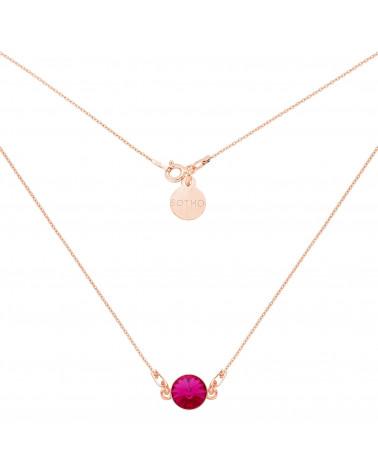 Naszyjnik z różowego złota z ciemno różowym kryształem SWAROVSKI® CRYSTAL