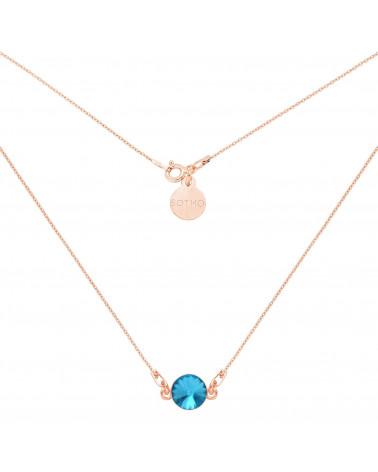 Naszyjnik z różowego złota z turkusowym kryształem SWAROVSKI® CRYSTAL