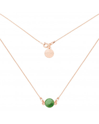 Naszyjnik z różowego złota z zielonym kryształem SWAROVSKI® CRYSTAL