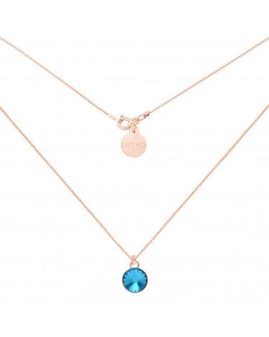 Naszyjnik z różowego złota turkusowym kryształem SWAROVSKI® CRYSTAL