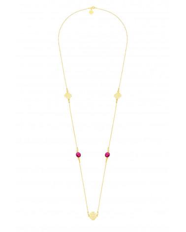 Długi złoty naszyjnik z arabskimi rozetami i ciemno różowymi kryształami SWAROVSKI® CRYSTAL
