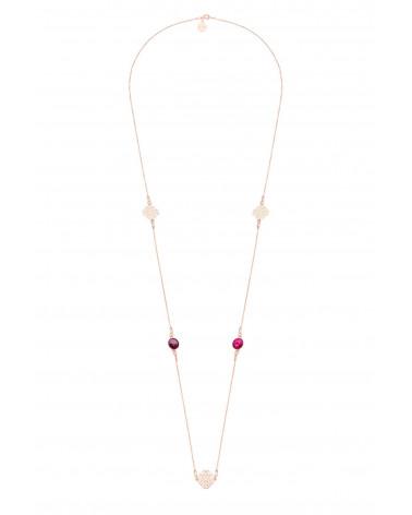 Długi naszyjnik z arabskimi rozetami i różowymi kryształami SWAROVSKI® CRYSTAL