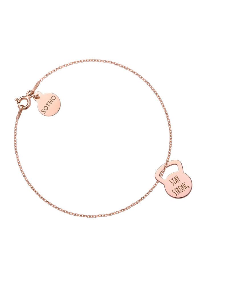 Bransoletka z różowego złota kettlebell STAY STRONG