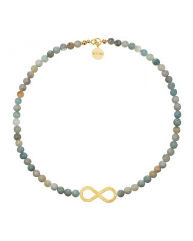 Miętowy naszyjnik amazonit złota nieskończoność symbol infinity