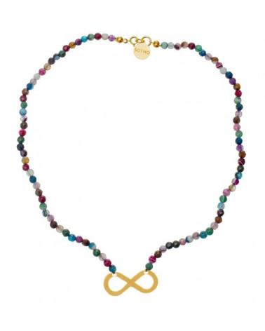 Kolorowy naszyjnik agat fasetowany multikolor złote nieskończoność symbol infinity