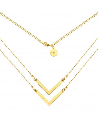 Złoty podwójny naszyjnik z zawieszkami V