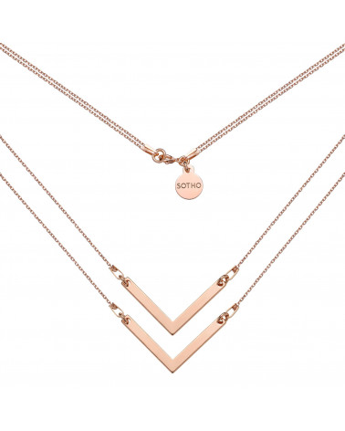Podwójny naszyjnik z różowego złota z zawieszkami V