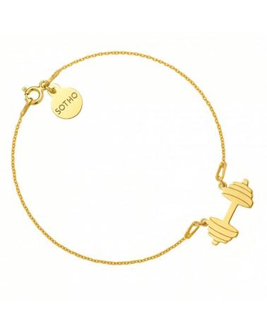 Złota bransoletka ze sztangą