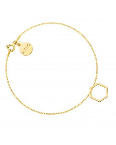 Złota bransoletka z sześciokątem