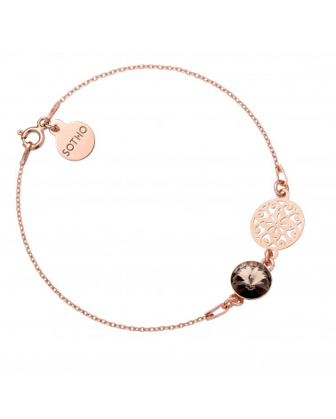 Bransoletka z różowego złota z rozetą i kryształem SWAROVSKI® CRYSTAL