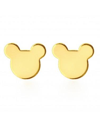 Złote kolczyki myszki