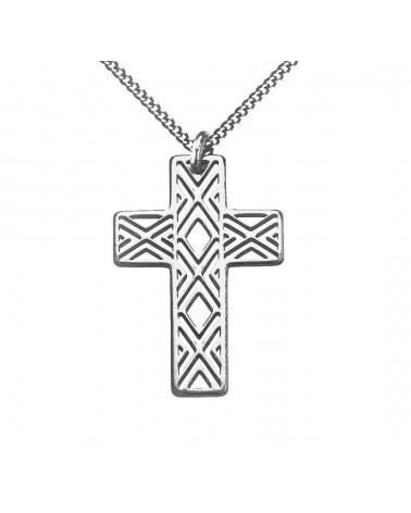 Srebrny męski naszyjnik pancerka z ażurowym krzyżem