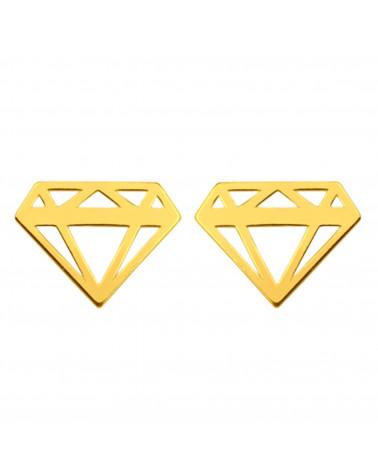Złote kolczyki diamenty