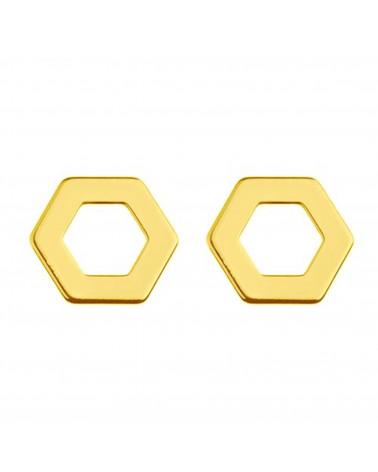 Złote kolczyki sześciokąty