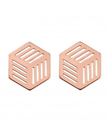 Kolczyki sześciany  z różowego złota