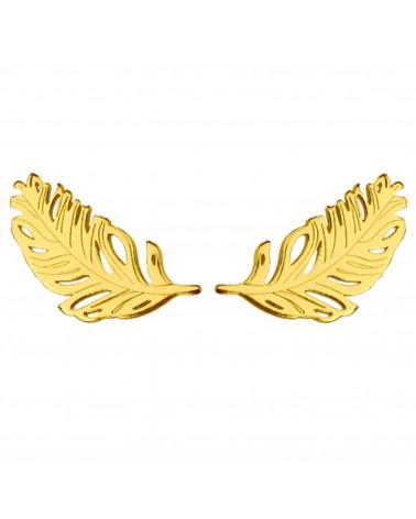 Złote kolczyki piórka