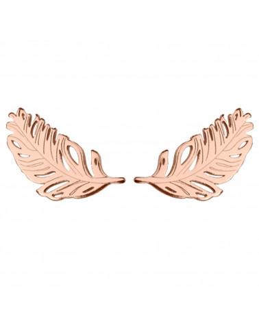 Kolczyki piórka z różowego złota