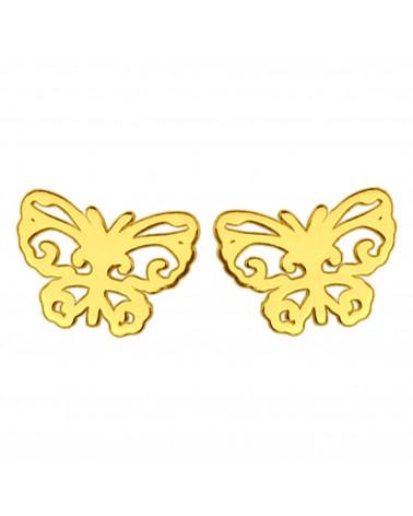 Złote kolczyki ażurowe motylki