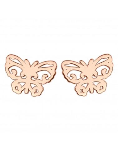 Kolczyki z ażurowymi motylkami w różowym złocie