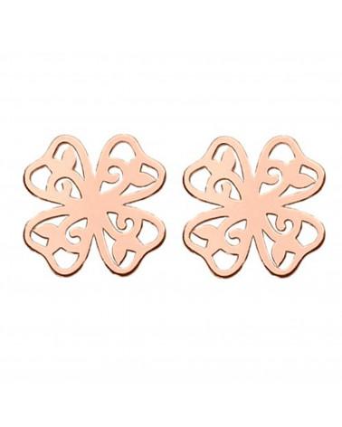 Kolczyki ażurowe koniczynki z różowego złota